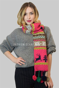 Reversible Fair Isle Pom Pom Tassel Scarf - Fashion Scarf World