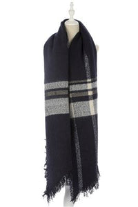 Wide Stripe Tartan Print Frayed Scarf - Fashion Scarf World