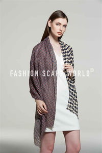 Houndstooth & Herringbone Print Frayed Scarf - Fashion Scarf World