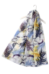 Giant Elephant & Leaf Print Frayed Scarf - Fashion Scarf World
