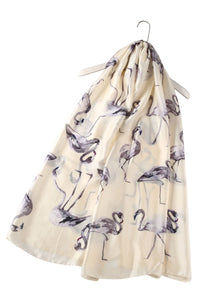 Large Painted Flamingo Print Silk Scarf - Fashion Scarf World