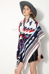 Bold Zigzag Print Blanket Wrap - Fashion Scarf World