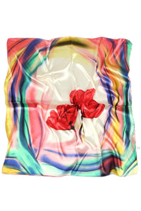 Soft Poppy Print Satin Scarf - Fashion Scarf World