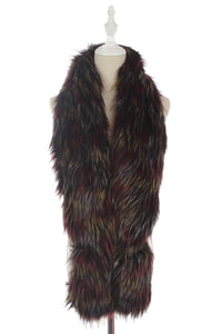 Long Multi Colour Faux Fur Collar - Black/Red/White - Fashion Scarf World