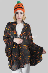 Spooky Halloween Pumpkin Face Print Scarf - Fashion Scarf World