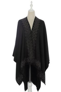 Crystal Diamond Pattern Trim Cape - Fashion Scarf World