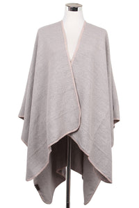 Plain Zigzag Stitch Poncho Wrap - Fashion Scarf World
