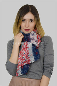 Floral Union Jack and Teacup Printed Scarf - Fashion Scarf World