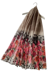 Rose Flower & Leopard Print Scarf - Fashion Scarf World