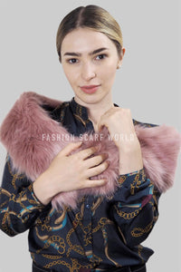 Plain Faux Fur Pull Through Scarf - Pink - Fashion Scarf World