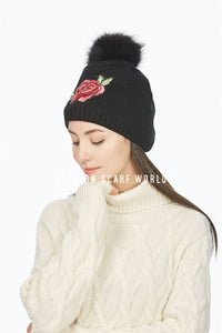 Embroidery Rose Faux Fur Pom Pom Beanie Hat - Fashion Scarf World