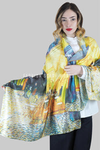 Van Gogh Terrace At Night Print Silk Scarf - Fashion Scarf World