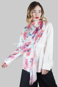 Summer Poppy Print Frayed Scarf - Fashion Scarf World