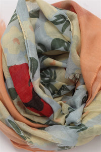 Simple Bold Flowers Print Frayed Scarf - Fashion Scarf World