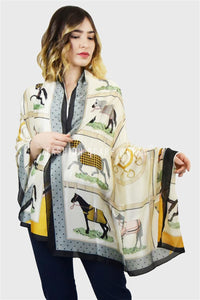 Race Day Horse Print Silk Scarf - Fashion Scarf World