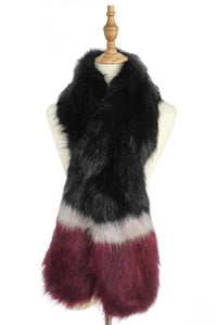 Stripe Long Faux Fur Collar - Black - Fashion Scarf World