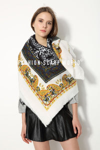 Felt Tip Effect Paisley Print Frayed Scarf - Fashion Scarf World