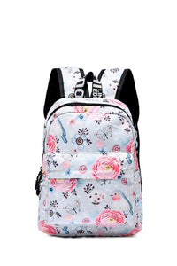 Pretty Floral Bird & Butterfly Print Backpack - Fashion Scarf World