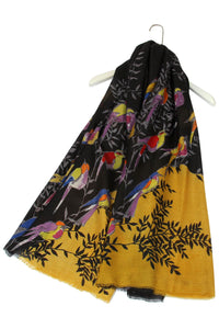 Colourful Birds In Branches Frayed Scarf - Fashion Scarf World