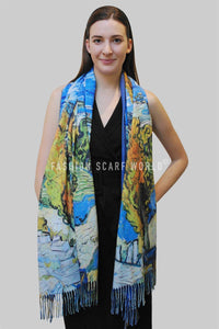 Van Gogh Two Poplars On A Road Wool Tassel Scarf - Fashion Scarf World