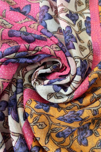Colour Block Ivy Print Frayed Scarf - Fashion Scarf World
