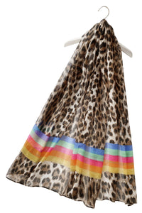 Leopard Print With Colour Block Scarf - Fashion Scarf World