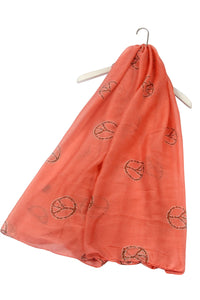 Peace Symbol Print Scarf - Fashion Scarf World
