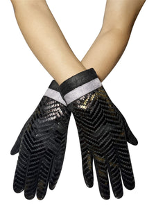 Luxe Snakeskin Print Touchscreen Gloves