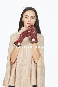 Donegal Boucle Real Fur Mix Pom Pom Gloves - Fashion Scarf World