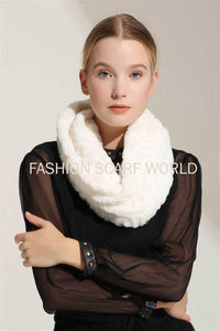 Faux Fur Scattered Pearl Twist Snood - Fashion Scarf World
