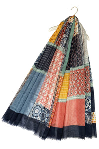 Tile Print Patchwork Frayed Scarf