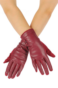Faux Leather & Suede Button Gloves - Fashion Scarf World