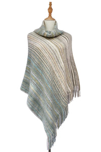 High Roll Neck Knitted Stripe Tassel Poncho - Fashion Scarf World