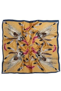 Feather Print Square Silk Scarf/ Neckerchief/ Headscarf - Fashion Scarf World