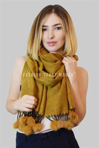 Soft Plain Real Fur Mix Pom Pom Scarf - Fashion Scarf World