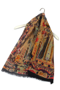 Detailed Indian Layered Print Frayed Scarf - Fashion Scarf World