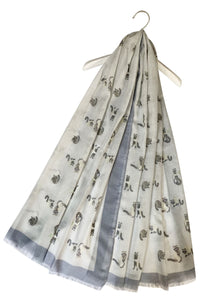 Raccoon Print Frayed Scarf - Fashion Scarf World