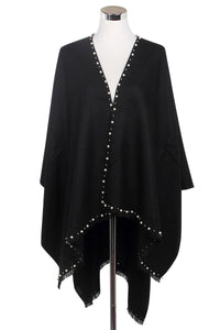 Pearl Bead Border Poncho Wrap - Fashion Scarf World