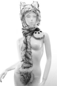 Long Wolf White & Black Fur With Animal Hat Pockets - Fashion Scarf World