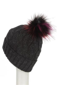 Coloured Faux Fur Cable Twist Beanie Hat - Fashion Scarf World