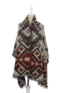 Reversible Aztec Print Frayed - Fashion Scarf World