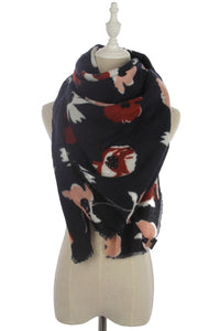 Poppy Print Frayed Scarf - Fashion Scarf World