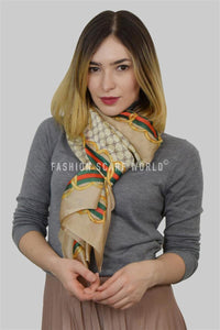 Scattered Bee Print With Chain Border Silk Scarf - Fashion Scarf World