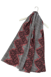 Hounds-tooth Check & Zigzag Frayed Scarf - Fashion Scarf World