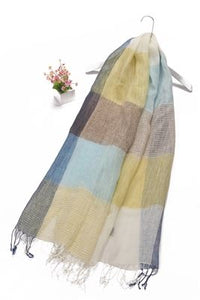 Stripe & Colour Block Print Tassel Linen Scarf - Fashion Scarf World