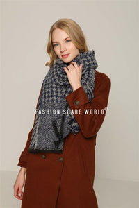 Houndstooth & Zebra Print Frayed Wrap - Fashion Scarf World