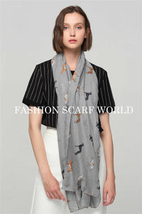 Cute Greyhound Dog Print Scarf - Fashion Scarf World