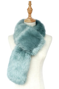 Plain Faux Fur Pull Through Scarf B - Powder Blue - Fashion Scarf World