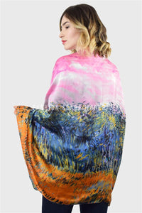 Impressionist Oil Painting Meadow Silk Scarf - Fashion Scarf World