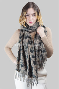 Snakeskin Print Wool Tassel Scarf - Fashion Scarf World